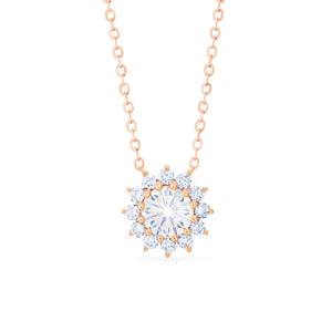 [Rosalie] Vintage Bloom Necklace in Moissanite - Necklace - Michellia Fine Jewelry