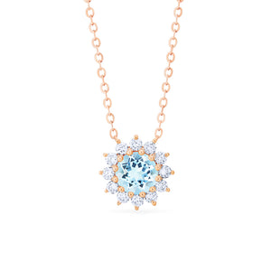 [Rosalie] Vintage Bloom Necklace in Aquamarine - Necklace - Michellia Fine Jewelry