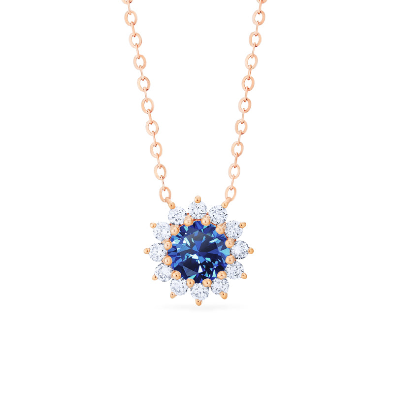 [Rosalie] Vintage Bloom Necklace in Lab Blue Sapphire - Necklace - Michellia Fine Jewelry