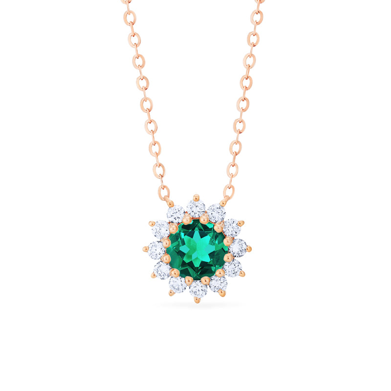 [Rosalie] Vintage Bloom Necklace in Lab Emerald - Michellia Fine Jewelry