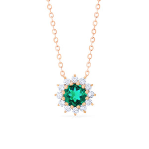 [Rosalie] Vintage Bloom Necklace in Lab Emerald - Necklace - Michellia Fine Jewelry