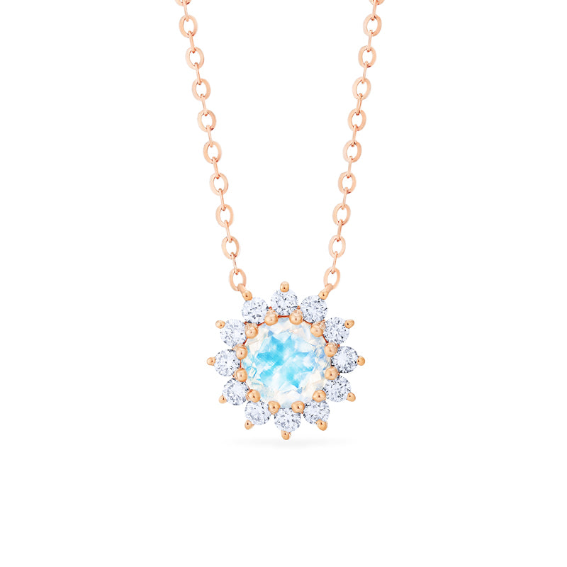 [Rosalie] Vintage Bloom Necklace in Moonstone - Michellia Fine Jewelry
