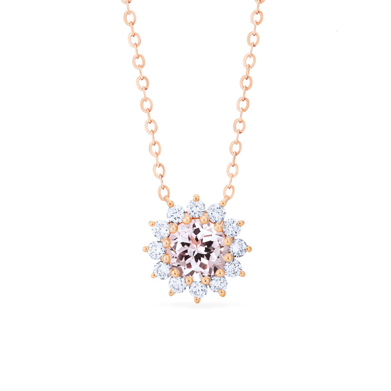 [Rosalie] Vintage Bloom Necklace in Morganite - Necklace - Michellia Fine Jewelry