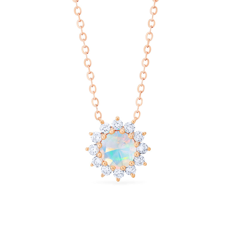 [Rosalie] Vintage Bloom Necklace in Opal - Michellia Fine Jewelry