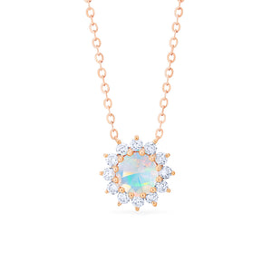 [Rosalie] Vintage Bloom Necklace in Opal - Necklace - Michellia Fine Jewelry