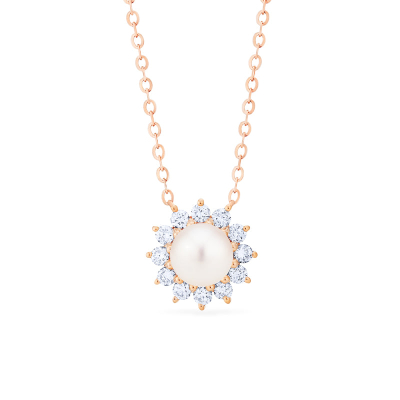 [Rosalie] Vintage Bloom Necklace in Akoya Pearl - Necklace - Michellia Fine Jewelry