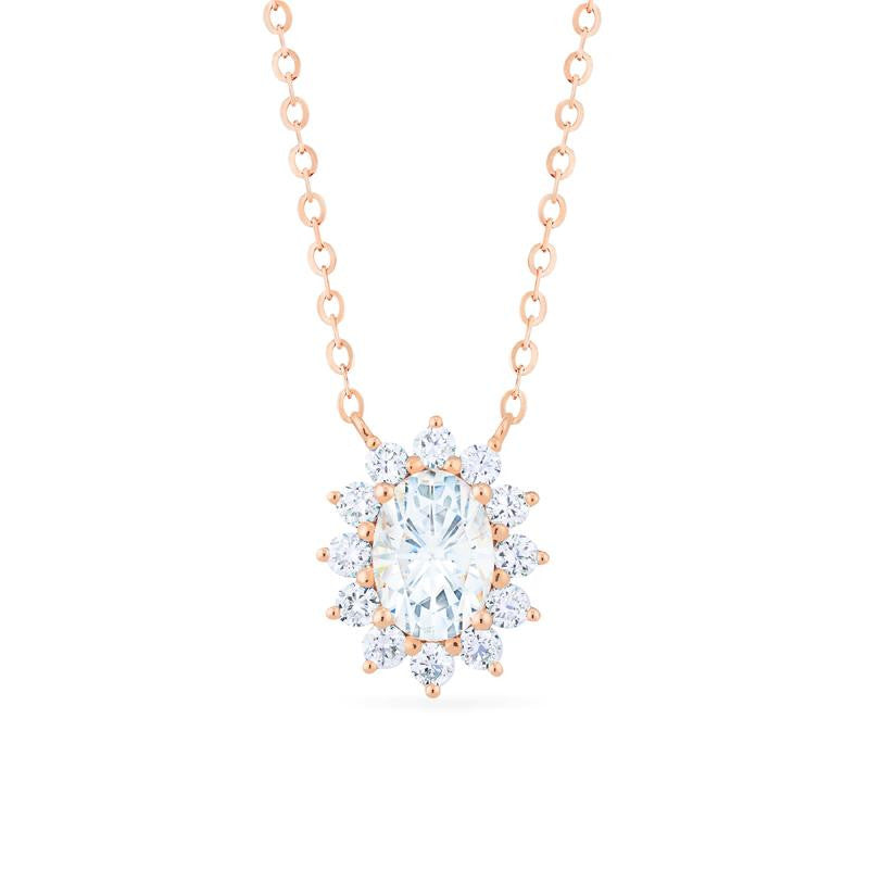 [Julianne] Vintage Bloom Oval Cut Necklace in Moissanite - Michellia Fine Jewelry
