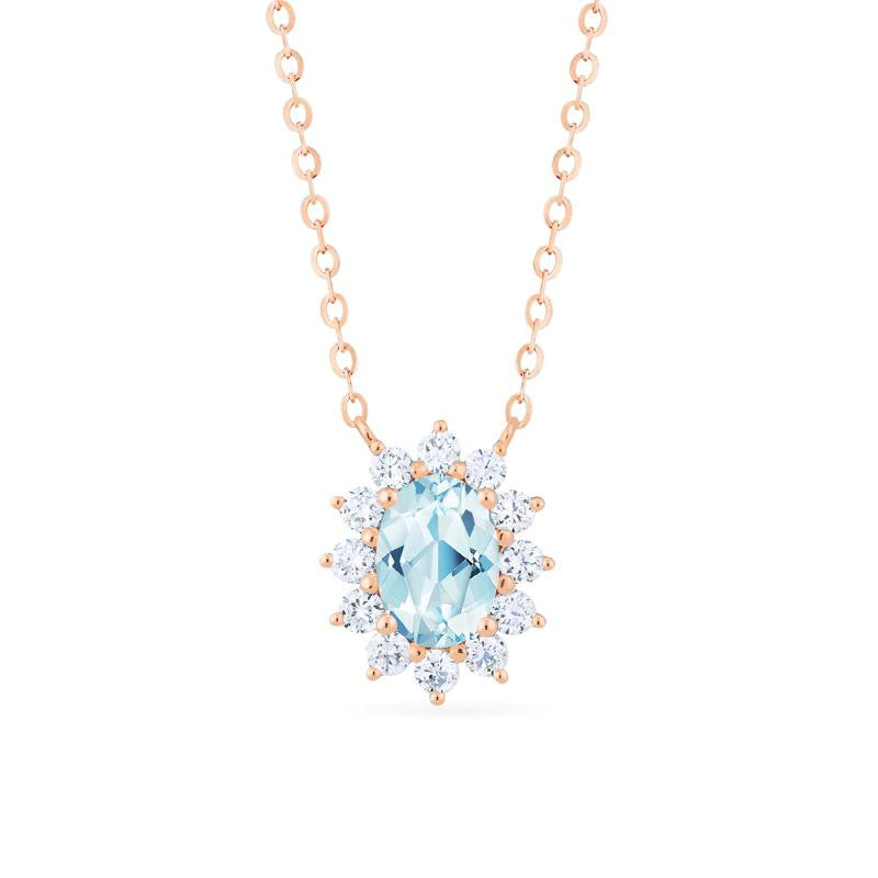 [Julianne] Vintage Bloom Oval Cut Necklace in Aquamarine - Necklace - Michellia Fine Jewelry