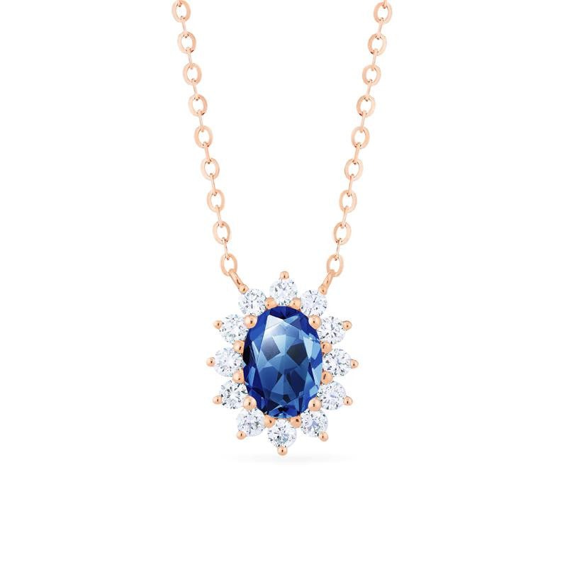 [Julianne] Vintage Bloom Oval Cut Necklace in Lab Blue Sapphire - Necklace - Michellia Fine Jewelry