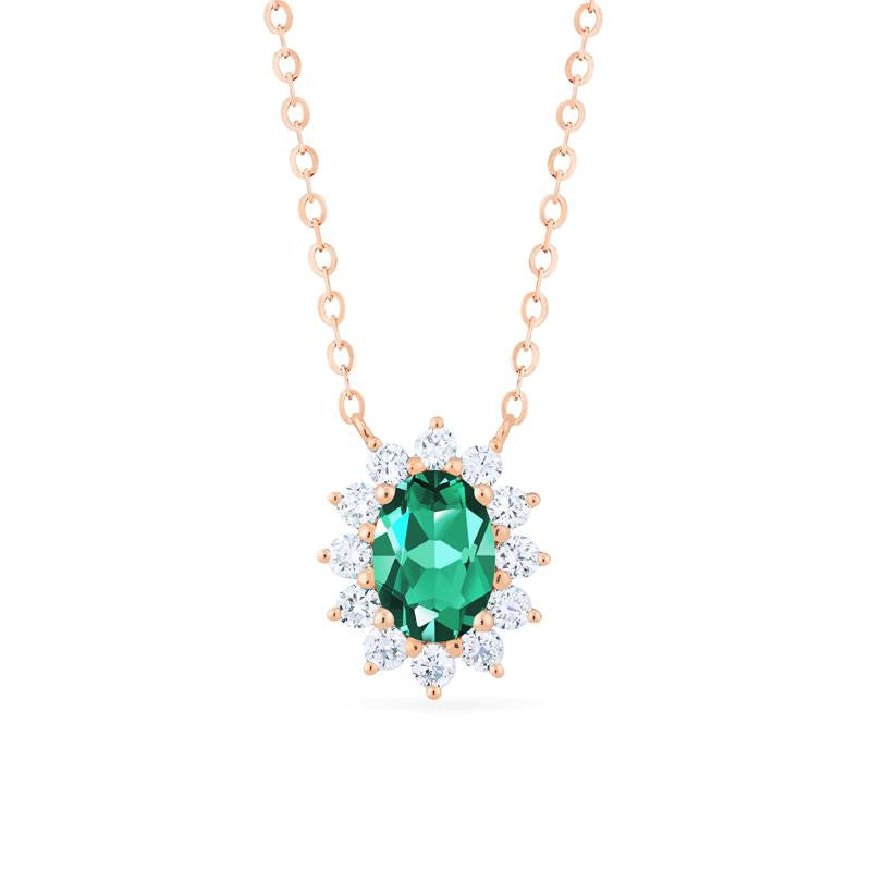[Julianne] Vintage Bloom Oval Cut Necklace in Lab Emerald - Necklace - Michellia Fine Jewelry