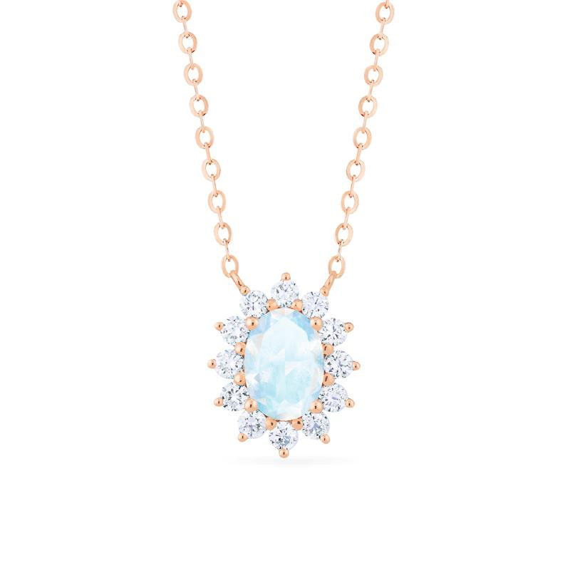 [Julianne] Vintage Bloom Oval Cut Necklace in Moonstone - Necklace - Michellia Fine Jewelry