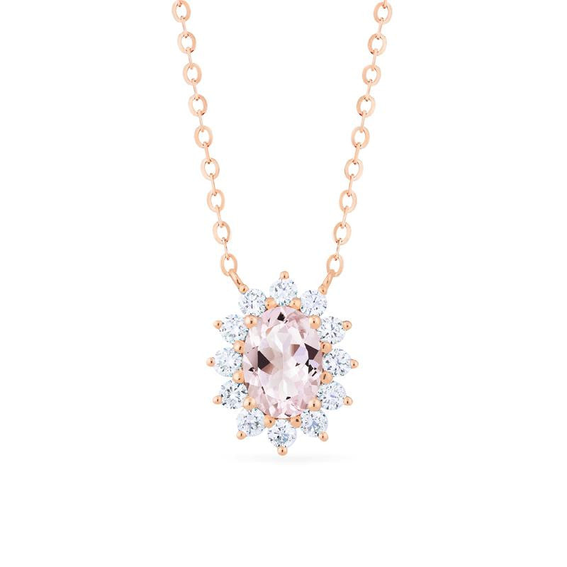 [Julianne] Ready-to-Ship Vintage Bloom Oval Cut Necklace in Morganite - Necklace - Michellia Fine Jewelry