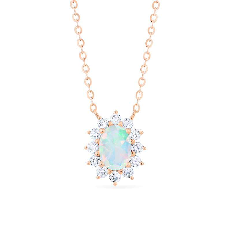 [Julianne] Vintage Bloom Oval Cut Necklace in Opal - Michellia Fine Jewelry