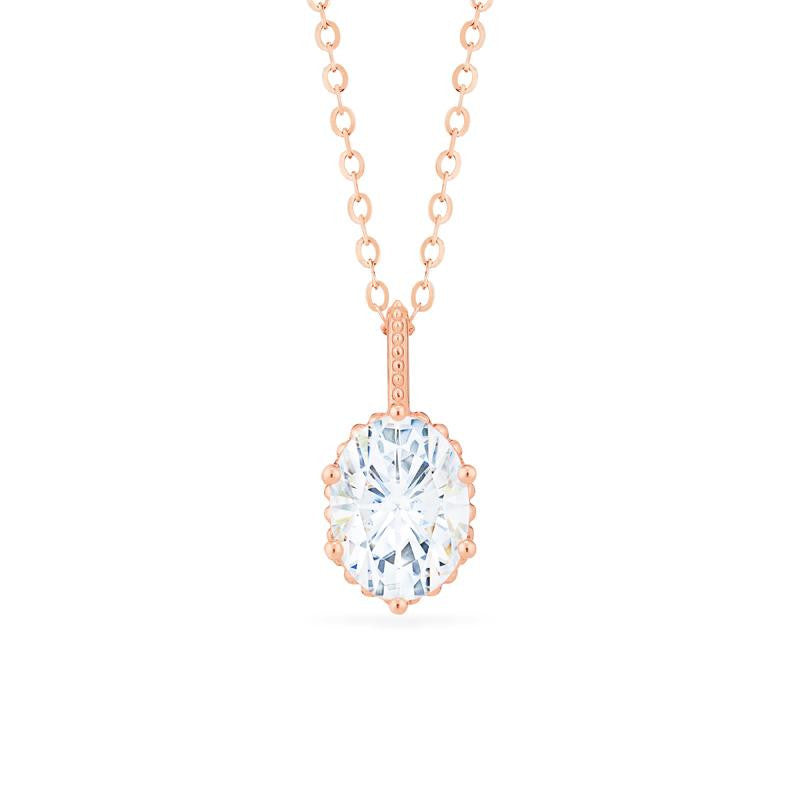[Evelina] Vintage Classic Crown Oval Cut Necklace in Moissanite - Necklace - Michellia Fine Jewelry