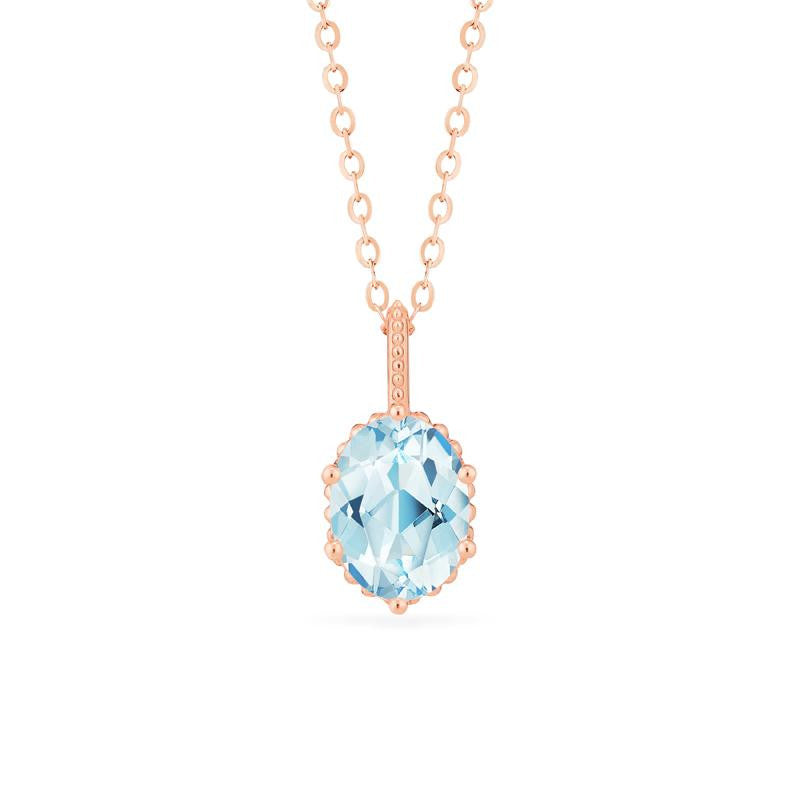 [Evelina] Vintage Classic Crown Oval Cut Necklace in Aquamarine - Necklace - Michellia Fine Jewelry
