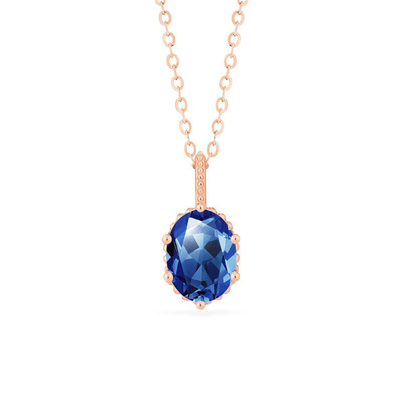 [Evelina] Vintage Classic Crown Oval Cut Necklace in Lab Blue Sapphire - Michellia Fine Jewelry