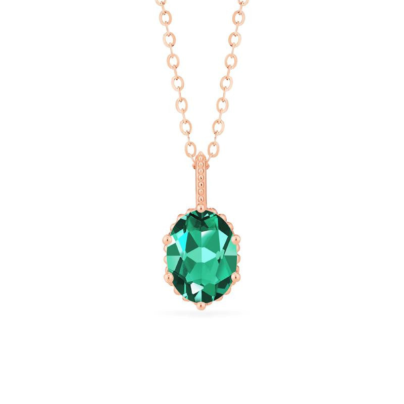 [Evelina] Vintage Classic Crown Oval Cut Necklace in Lab Emerald - Michellia Fine Jewelry