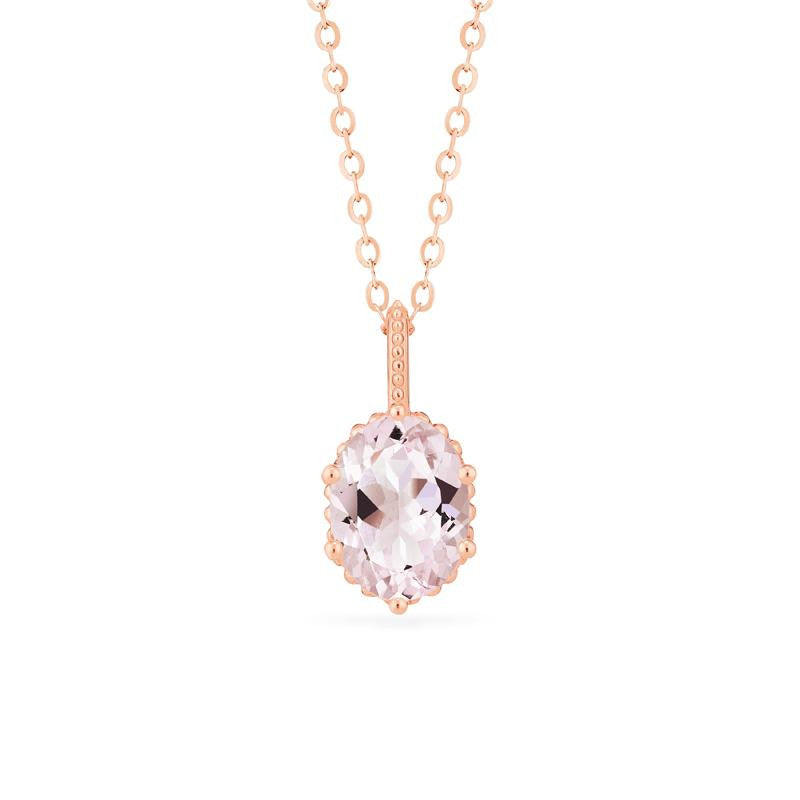[Evelina] Vintage Classic Crown Oval Cut Necklace in Morganite - Necklace - Michellia Fine Jewelry