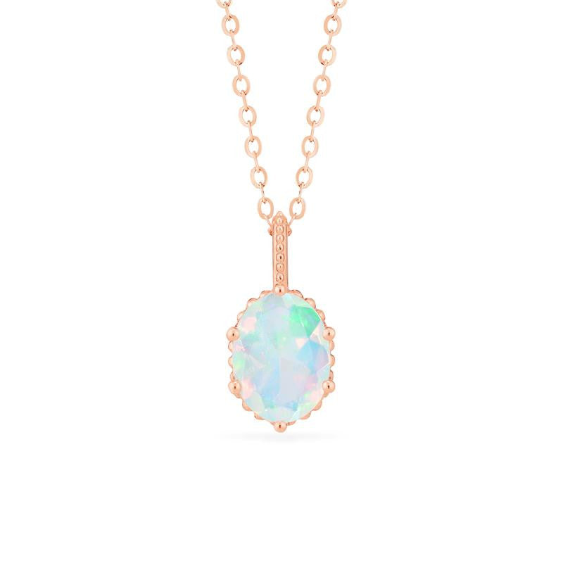 [Evelina] Vintage Classic Crown Oval Cut Necklace in Opal - Necklace - Michellia Fine Jewelry