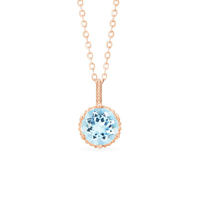 [Evelyn] Vintage Classic Crown Necklace in Aquamarine - Necklace - Michellia Fine Jewelry