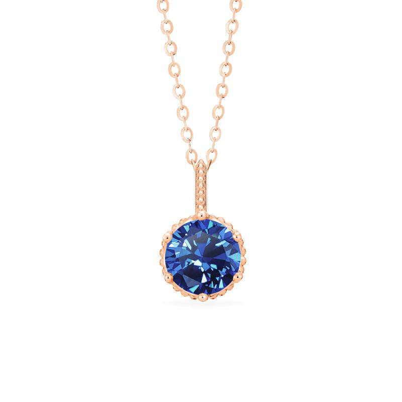 [Evelyn] Vintage Classic Crown Necklace in Lab Blue Sapphire - Michellia Fine Jewelry
