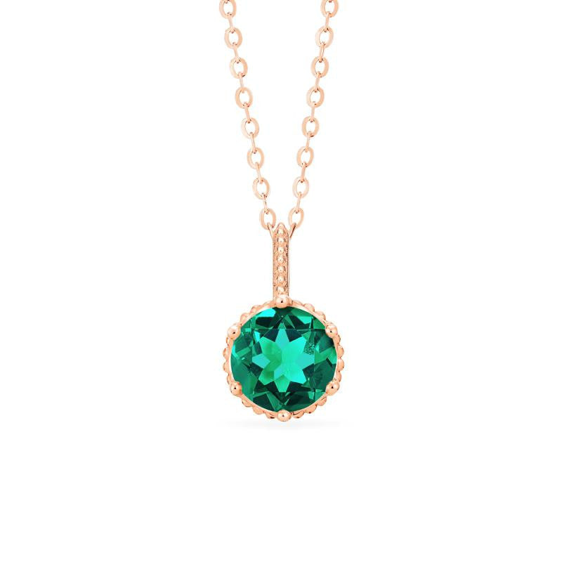 [Evelyn] Vintage Classic Crown Necklace in Lab Emerald - Michellia Fine Jewelry