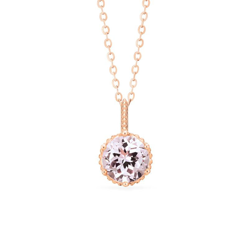 [Evelyn] Vintage Classic Crown Necklace in Morganite - Necklace - Michellia Fine Jewelry
