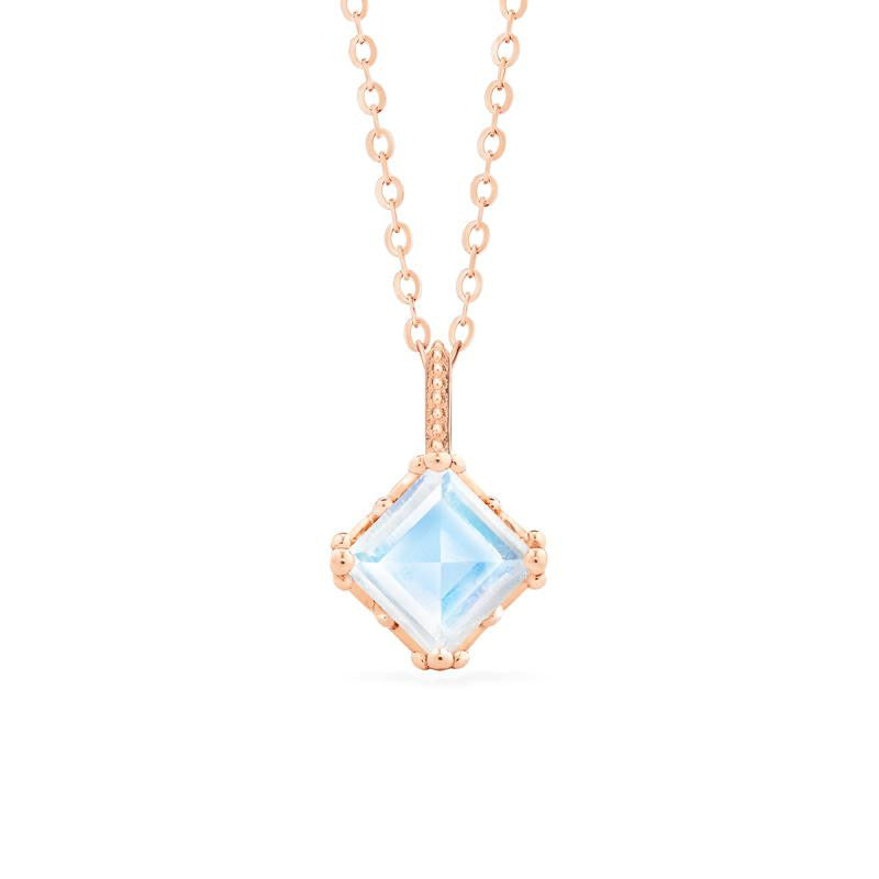 [Astoria] Fluer De Lis Princess Cut Necklace in Moonstone - Necklace - Michellia Fine Jewelry