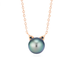 [Magic] Black Pearl and Diamond Cat Necklace - Necklace - Michellia Fine Jewelry