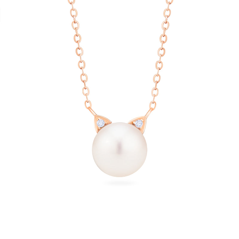 [Snow] White Pearl and Diamond Cat Necklace - Necklace - Michellia Fine Jewelry