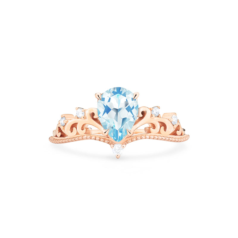[Veronica] Vintage Crown Pear Cut Ring in Aquamarine - Women's Ring - Michellia Fine Jewelry