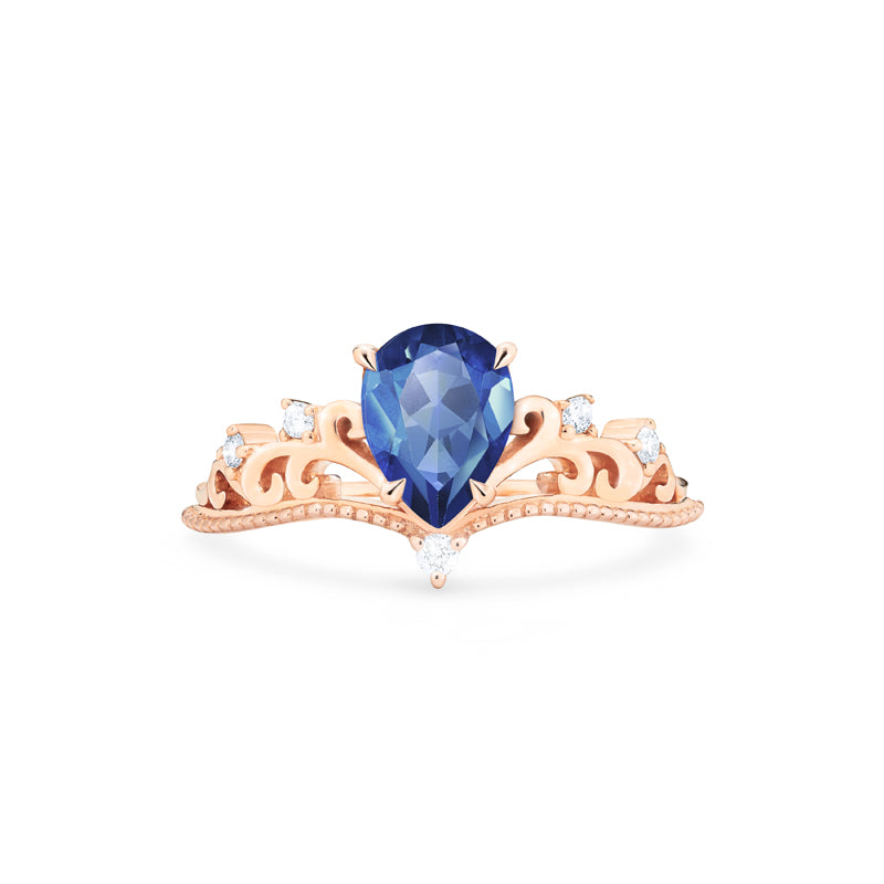 [Veronica] Vintage Crown Pear Cut Ring in Lab Blue Sapphire - Women's Ring - Michellia Fine Jewelry
