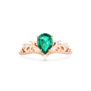 [Veronica] Vintage Crown Pear Cut Ring in Lab Emerald - Women's Ring - Michellia Fine Jewelry