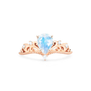 [Veronica] Vintage Crown Pear Cut Ring in Moonstone - Women's Ring - Michellia Fine Jewelry