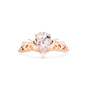 [Veronica] Vintage Crown Pear Cut Ring in Morganite - Women's Ring - Michellia Fine Jewelry