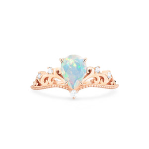 [Veronica] Vintage Crown Pear Cut Ring in Opal - Women's Ring - Michellia Fine Jewelry