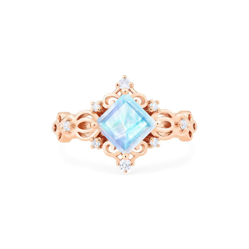 [Elsa] Vintage Square Princess Cut Ring in Moonstone - Women's Ring - Michellia Fine Jewelry