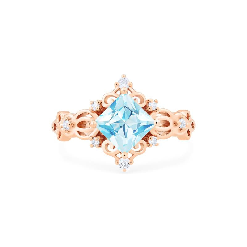 [Elsa] Vintage Square Princess Cut Ring in Aquamarine - Women's Ring - Michellia Fine Jewelry