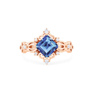 [Elsa] Vintage Square Princess Cut Ring in Lab Blue Sapphire - Women's Ring - Michellia Fine Jewelry