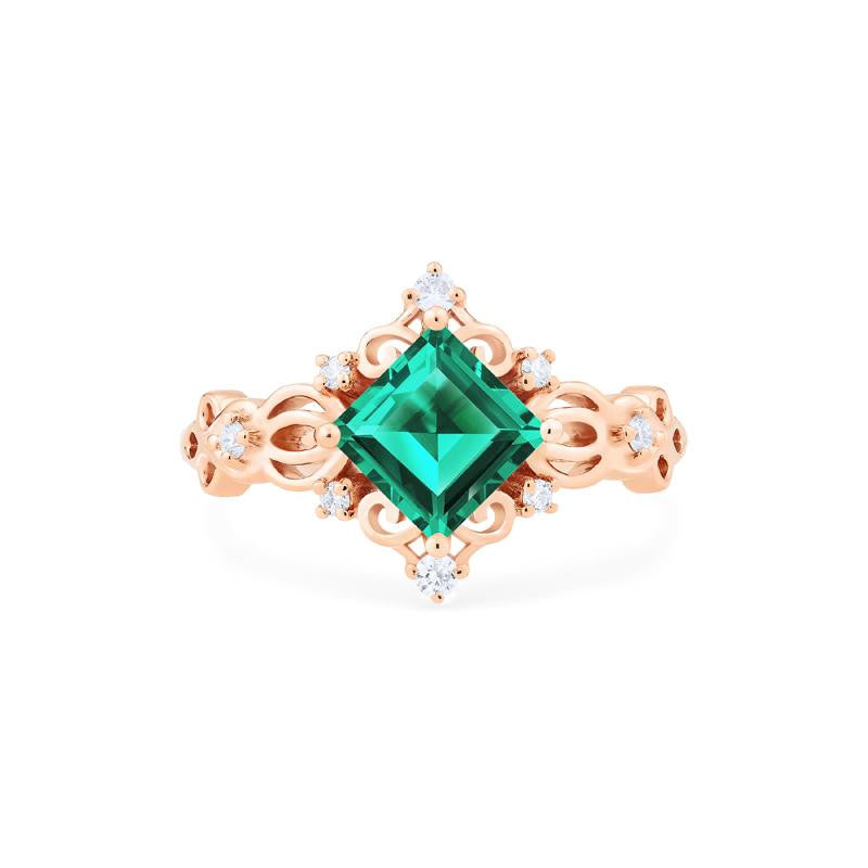[Anna] Vintage Square Princess Cut Ring in Lab Emerald - Women's Ring - Michellia Fine Jewelry