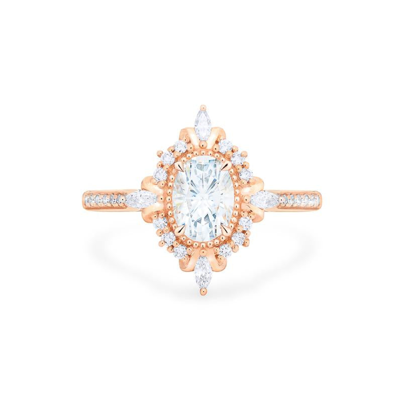 [Alessandra] Art Deco Oval Cut Ring in Moissanite - Michellia Fine Jewelry