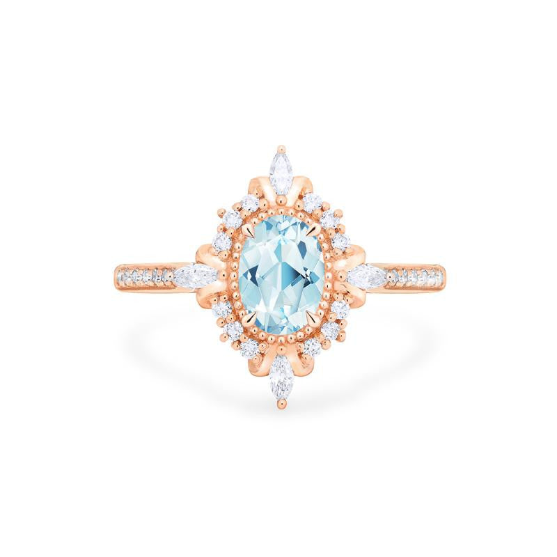 [Alessandra] Art Deco Oval Cut Ring in Aquamarine - Women's Ring - Michellia Fine Jewelry