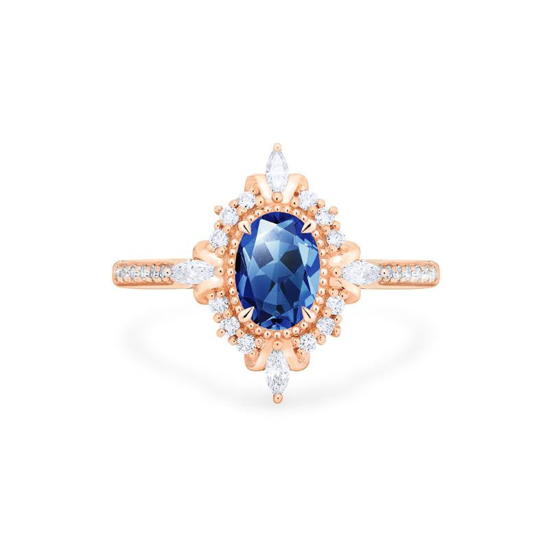 [Alessandra] Art Deco Oval Cut Ring in Lab Blue Sapphire - Michellia Fine Jewelry