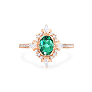 [Alessandra] Art Deco Oval Cut Ring in Lab Emerald - Michellia Fine Jewelry