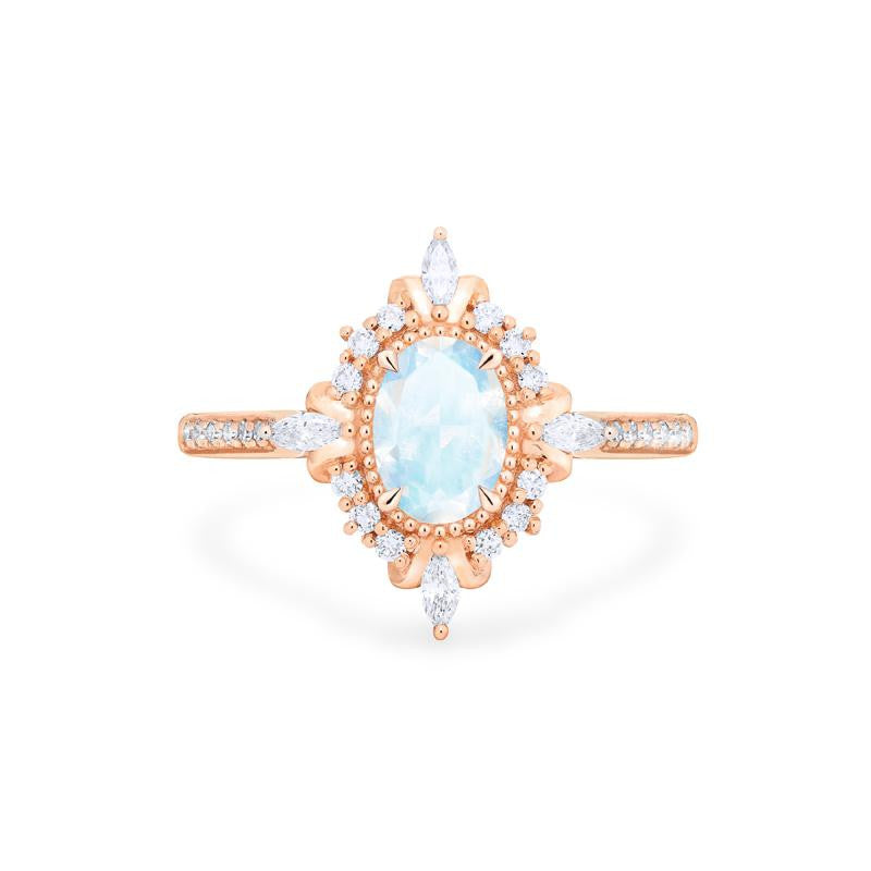 [Alessandra] Art Deco Oval Cut Ring in Moonstone - Women's Ring - Michellia Fine Jewelry