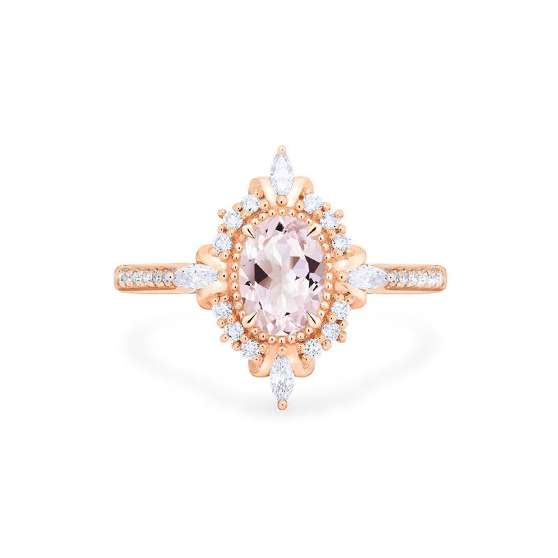 [Alessandra] Art Deco Oval Cut Ring in Morganite - Michellia Fine Jewelry