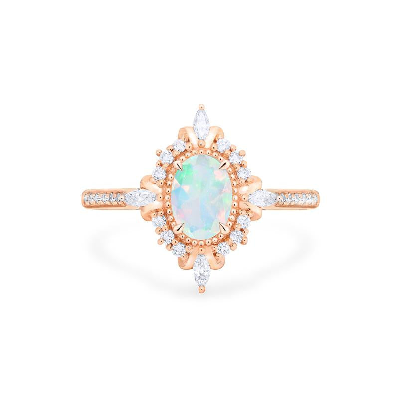 [Alessandra] Art Deco Oval Cut Ring in Opal - Michellia Fine Jewelry