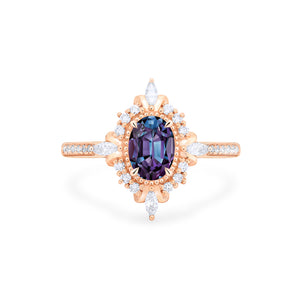 [Alessandra] Art Deco Oval Cut Ring in Lab Alexandrite - Women's Ring - Michellia Fine Jewelry