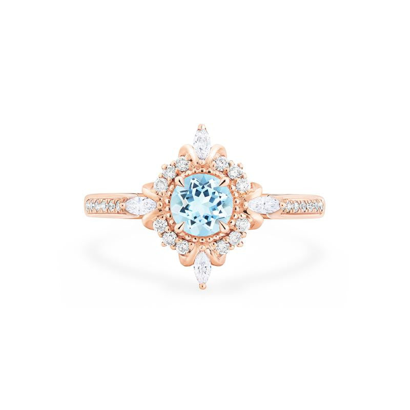 [Astrid] Art Deco Petite Ring in Aquamarine - Michellia Fine Jewelry