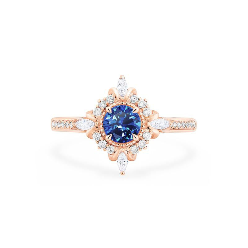 [Astrid] Art Deco Petite Ring in Lab Blue Sapphire - Women's Ring - Michellia Fine Jewelry